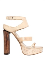 COSTUME NATIONAL - 140MM CALFSKIN ANKLE WOODEN SANDALS