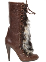 ROBERTO CAVALLI - 110MM SHEARLING FUR LACED BOOTS
